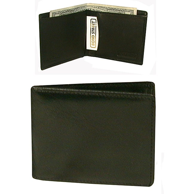 Men's Italian Black Leather Mini-Tuxedo Bi-fold Wallet