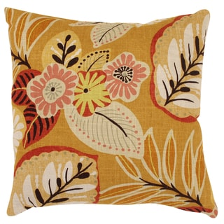 Pillow Perfect Decorative Gold Tropical Floral Square Toss Pillow