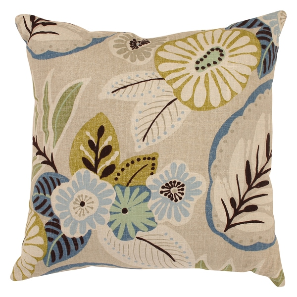 Pillow Perfect Decorative Beige/ Blue Tropical Floral Square Toss Pillow