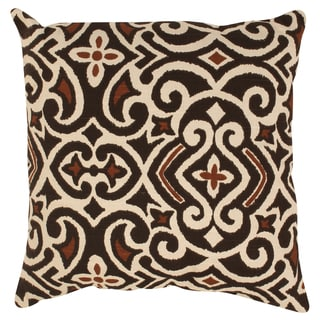 Pillow Perfect Decorative Brown/Beige Damask Square Toss Pillow