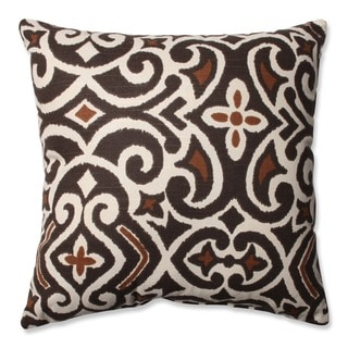 Pillow Perfect Decorative Brown/ Beige Damask Square Toss Pillow