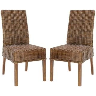 Safavieh St Thomas Indoor Wicker Dark Brown Side Chairs (Set of 2)
