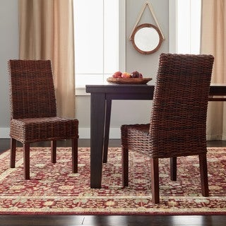 Safavieh St Thomas Indoor Wicker Dark Brown Side Chairs (Set of 2)