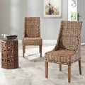 St Thomas Indoor Wicker Brown Sloping Arm Chairs (Set of 2)