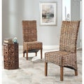 Safavieh St Thomas Isla Indoor Wicker Brown High Back Side Chairs (Set of 2)