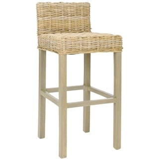 Safavieh St Thomas Indoor Wicker Grey/ Beige Bar Stool