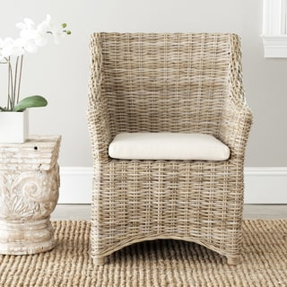 Safavieh St Thomas Indoor Wicker Washed-out Brown Wing Back Arm Chair