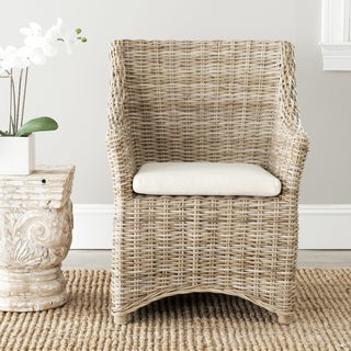 St Thomas Indoor Wicker Washed-out Brown Wing Back Arm Chair