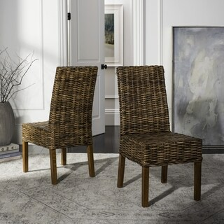 """Safavieh Dining Rural Woven St. Thomas Wicker Brown Dining Chairs (Set of 2) - 21.7"""" x 19.3"""" x 38.6"""""""