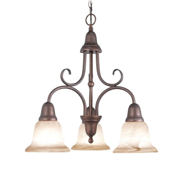 Woodbridge Lighting Hudson Glen 3-light Marbled Bronze Chandelier