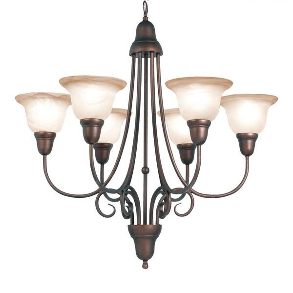 Woodbridge Lighting Hudson Glen 6-light Marbled Bronze Chandelier