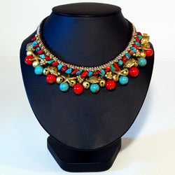 Brasstone Turquoise and Red Coral Bead Necklace (Thailand)