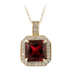 Glitzy Rocks 18k Gold over Silver Lab-created Ruby and CZ Necklace (5 1/4ct TGW)
