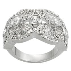 Silvertone Pave-set and Round-cut Cubic Zirconia Flower Ring