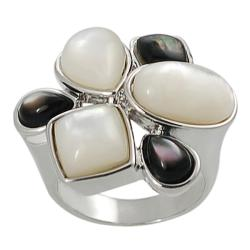 Silvertone Black and White Mother of Pearl Ring