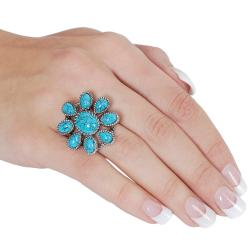 Silvertone Turquoise Flower Rope-style Ring