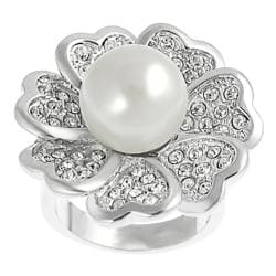Silvertone Cubic Zirconia and Faux Pearl Flower Ring