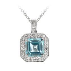 Glitzy Rocks Sterling Silver Blue Topaz and CZ Necklace (6 1/5ct TGW)