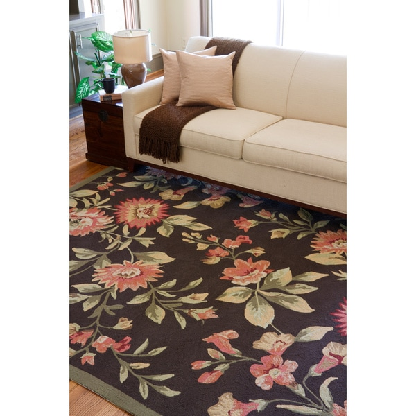 Hand-hooked Clearwater Indoor/Outdoor Floral Rug (9' x 12')