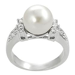 Silvertone Faux Pearl and Cubic Zirconia-accented Ring