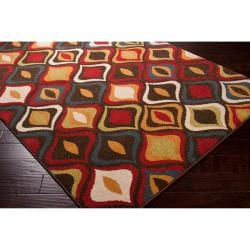 Meticulously Woven Contemporary Red/Brown Medallion Ferryhill Abstract Rug (5'3 x 7'6)