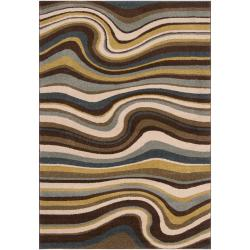 Meticulously Woven Contemporary Multi Colored Stripe Filey Abstract Rug (5'3 x 7'6)