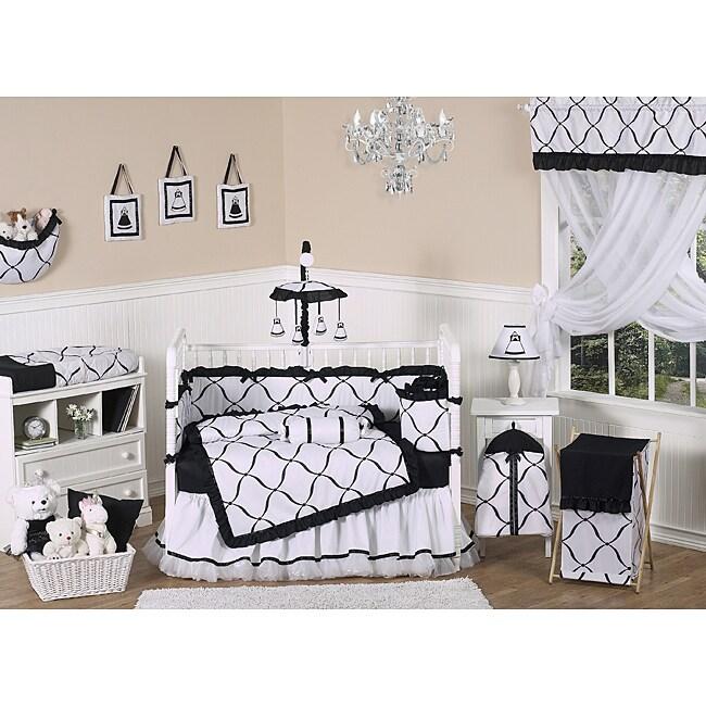 Sweet Jojo Designs Black and White Princess 9-piece Crib Bedding Set