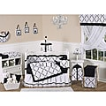 Sweet Jojo Designs Black and White Princess 9-piece Crib Bedding Set