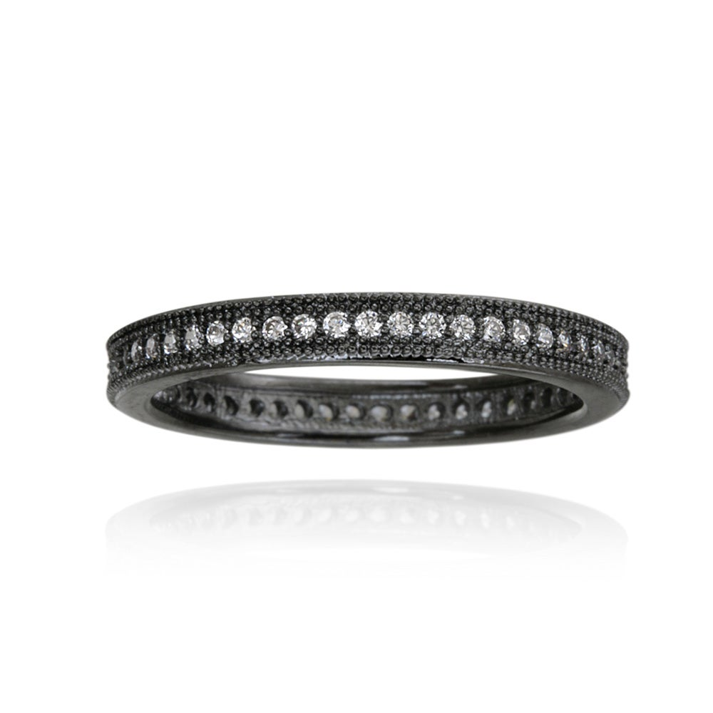 Icz Stonez Black Rhodium-plated Stackable Cubic Zirconia Eternity Ring