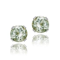Glitzy Rocks Sterling Silver 1/2ct TGW 4-mm Green Amethyst Stud Earrings