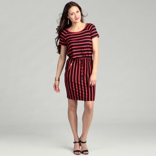 Calvin Klein Women's Navy/ Red Striped Dress