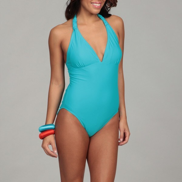 Caribbean Sand Women's Teal Halter-top 1-piece Swimsuit