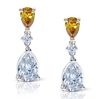 Annello 14k Gold 2 3/4 ct TDW Certified Brown and White Diamond Teardrop Earrings