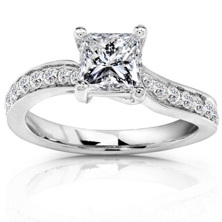 Annello 14k White Gold 7/8ct TDW Certified Princess Cut Diamond Ring (H-I, SI2)