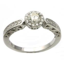 Beverly Hills Charm 14k White Gold 1/2ct TDW Diamond Halo Engagement Ring (H-I, I1)