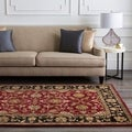 Hand-tufted Burgundy Traditional Floral BordeBurgundy Urner Wool Area Rug (5' x 8')