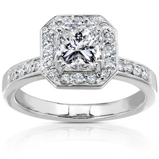 Annello 14k White Gold 1 1/10ct TDW Certified Diamond Engagement Ring (G-H, SI2)