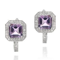 Glitzy Rocks Sterling Silver Amethyst and Cubic Zirconia Earrings