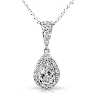 Annello 14k White Gold 1ct TDW Certified Diamond Necklace (I, SI1) with Bonus Item