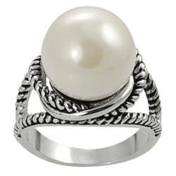 Silvertone Faux Pearl Twist Ring