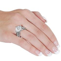 Silvertone Cushion-cut Cubic Zirconia Rope Detail Ring
