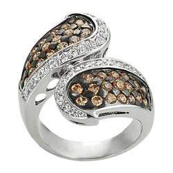 Silvertone Orange and White Cubic Zirconia Wrap-around Ring