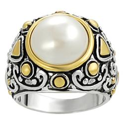 Silvertone and Goldtone Inset Faux Pearl Ring