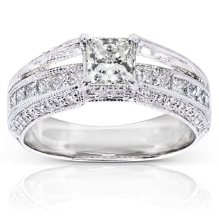 Annello 14k White Gold 1 3/4ct TDW Certified Diamond Engagement Ring (I, SI1)