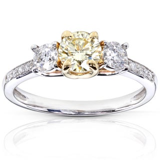 Annello 14k Gold 1 ct TDW Certified Yellow and White Diamond Ring (G-H, I1)