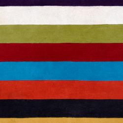 Hand-tufted Contemporary Multi Colored Stripe Bury Wool Abstract Rug (8' x 11')