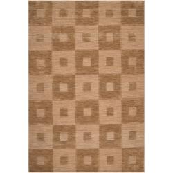Hand-crafted Solid Light Brown Geometric Indus Valley Wool Rug (5' x8')
