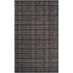 Hand-crafted Solid Black Casual Indus Valley Wool Rug (8' x 11')