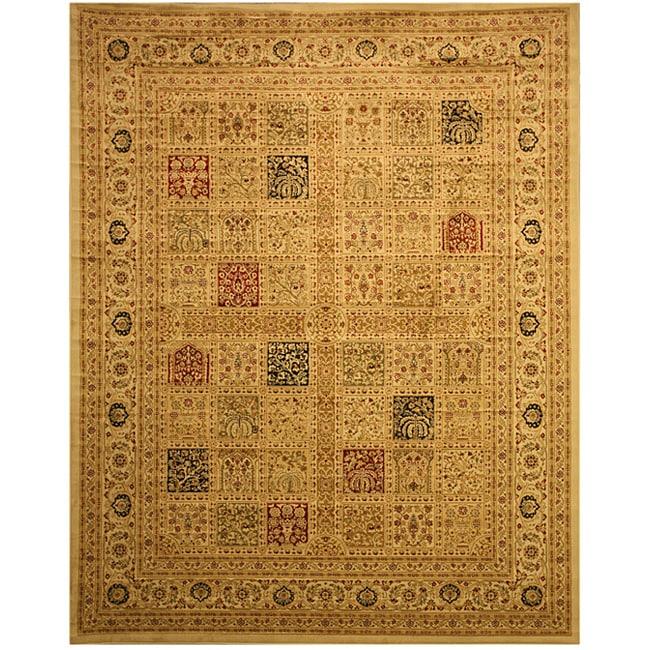 EORC Ivory Magnificent Panel Tabriz Rug (8'10 x 9'10)