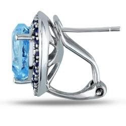 Miadora Sterling Silver 5 4/5ct TGW Blue Topaz and Sapphire Heart Earrings